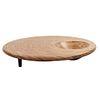 Mesa de centro. Siglo XX. Elaborada en madera. Con cubierta circular, depósito cóncavo y soportes cónicos.