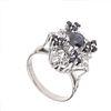 Anillo vintage con zafiros y diamantes en plata paladio. 13 zafiros corte redondo y oval. 12 diamantes corte 8 x 8. Talla: 6 1...