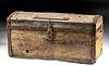 19th C. American Wood & Iron Storage Chest w/ Wheels