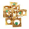 A Mid-Century Modern 18K Jade Brooch/Pendant