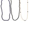 A Collection of Lapis Lazuli & Onyx Necklaces