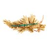 A Vintage 18K Abstract Leaf Brooch with Emeralds