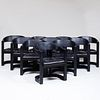 Set of Ten Karl Springer Faux Ostrich Skin Covered 'Onassis' Armchairs