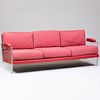 Vladimir Kagan Upholstered Leather, Cotton and Lucite Three Seat Sofa