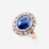 A sapphire, diamond, and fourteen karat gold ring,