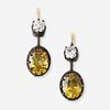 A pair of citrine, diamond, silver, and fourteen karat gold earrings,