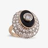A convertible onyx and diamond or turquoise and fourteen karat gold ring,
