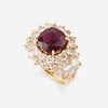 A ruby, diamond, and fourteen karat gold ring,