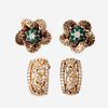 Two pairs of gold and gem-set earrings,