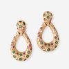 A pair of fourteen karat gold, emerald, ruby, and diamond earrings,