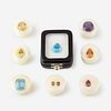 A collection of colored gemstones,