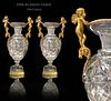 A PAIR OF RUSSIAN BRONZE CUT CRYSTAL VASES. 19TH C.