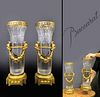 Large 19th C. Pair of Baccarat Crystal & Bronze Vases