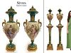 PAIR OF 19TH C ORMOLU-MOUNTED SEVRES GREEN LIDDED VASES