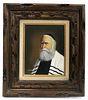 Fine Judaica Rabbi Painting. Signed