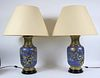 Pair of Chinese Cloisonne Vases, Fitted as Lamps