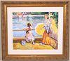 Katia Pissarro, Two Girls Fishing off Bridge