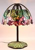 """Stained Glass """"Red Lotus"""" Style Lamp, after Tiffany"""