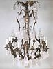 Rococo Style Gilt-Metal & Rock Crystal Chandelier