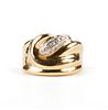 18K Gold Pave Diamond Grooved Ring