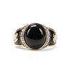 14K Gold Onyx Mother of Pearl Diamond Ring