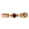 Grp: 3 Gold Rings - Garnet & Cartier Style