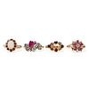 Grp: 4 Vintage Gold Colored Gemstone Rings