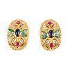 Pair of 18K Gold Colored Gemstone Earrings