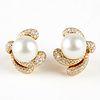 18K Gold Diamond Pearl Clip Back Earrings