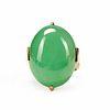 Gump's 18K Gold Jadeite Apple Green Ring A Grade