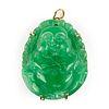 14K Gold Chinese Carved Jade Buddha Pendant