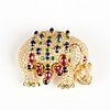 18K Gold Colored Stones Elephant Brooch