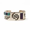Hopi Sterling Sugilite Turquoise Cuff - Signed