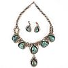 Navajo Squash Blossom Necklace & Earrings - Signed