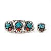Teddy Goodluck Sterling Turquoise Ring & Bracelet