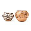 Grp: 2 Acoma Pueblo Pottery Bowls - Freddy Davis