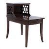 Mesa para teléfono. Siglo XX. Elaborado en madera. A dos niveles. Con cubierta rectangular, cajón con tirador de metal.