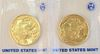 Two Gold Buffalo, 2008 Mint State fine gold, 1 oz each.