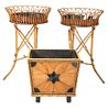 Four Piece Lot to include pair bamboo planters, with copper liners, along with small bamboo stool and wood holder, height 34 1/2 inches, diameter 21 i