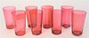 Set of Eight Cranberry Glasses, with ground bottoms, height 4 inches.