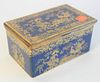 """Copeland Spode Box, with hinged lid, reeded brass trim, all in a powder blue with Chinese gilt decoration, height 3 1/4 inches, top 4"""" x 6 1/4""""."""