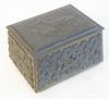 """Bronze Box, with hinged lid, top with deer, sides with ferns, height 4 1/4 inches, top 4 1/2"""" x 5 1/2""""."""