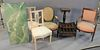 """Seven Piece Lot, to include 2 armchairs; 1 carved pedestal, height 32 1/2 inches, top 12"""" x 12""""; 1 Canterbury; along with two side chairs and a coffee"""