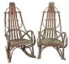 Pair of Adirondack Style Rocking Chairs, height 45 inches.