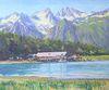 "Josephine Crumrine Liddell (American, 1917 - 2005), lakeside cottage, oil on canvas, signed lower right 'Josephine Crumine Liddell', 24"" x 20""."