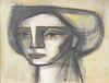 "Jorge Dumas (1928 - 1985), portrait of a woman, oil on masonite, signed lower right: Jorge Dumas, 25"" x 32 1/2""."