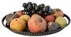 Group Lot of Carved and Painted Stone Fruit, in a black tole tray, to include grapes, figs, apples, and peaches.