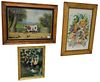Three Reverse Paintings on Glass, to include two farm scenes along with one floral foil still life, titled The View of Flowers, all unsigned, largest