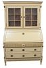 Continental Cream Painted Secretary Desk, in two parts, having brass mounted columns, probably Swedish, 19th Century, height 75 1/4 inches, width 40 i