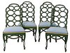 Set of Four Contemporary Side Chairs, green painted with gilt decoration (some paint loss), seat height 18 inches.